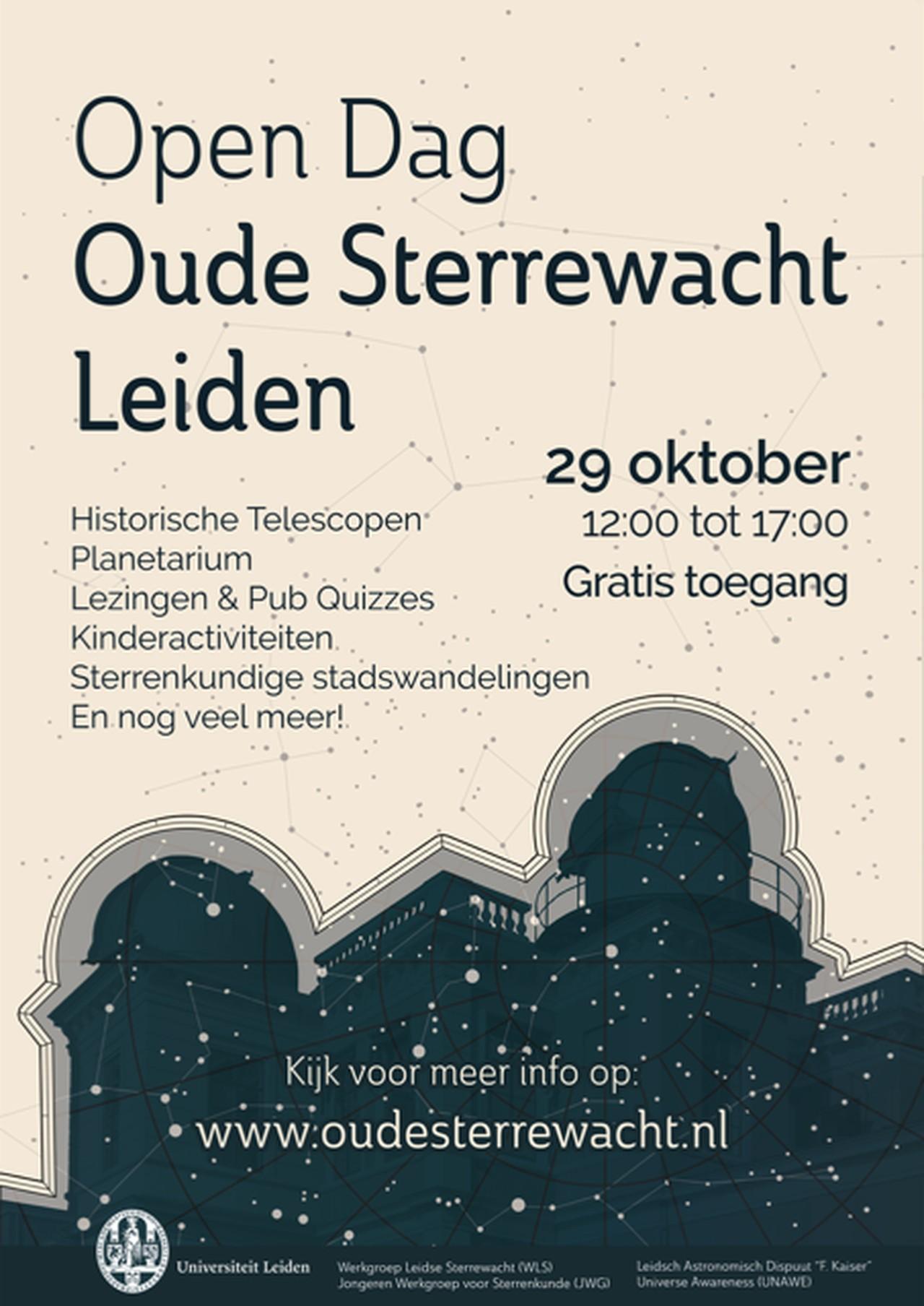 Poster van de Open Dag van de Oude Sterrewacht in Leiden